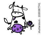 stylized cow. cute shape | Shutterstock .eps vector #1030387741