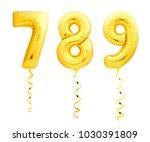 golden numbers 7  8  9 made of... | Shutterstock . vector #1030391809