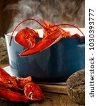 Lobster Steaming In A Pot On A...