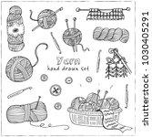 yarn hand drawn doodle set.... | Shutterstock .eps vector #1030405291