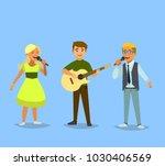 children's musical trio. boy... | Shutterstock .eps vector #1030406569