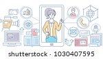 social media   modern line... | Shutterstock .eps vector #1030407595