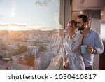 romantic happy young couple... | Shutterstock . vector #1030410817