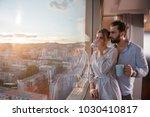 romantic happy young couple... | Shutterstock . vector #1030410817