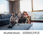 happy family. father  mother... | Shutterstock . vector #1030411915