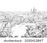 chain bridge. budapest. hungary.... | Shutterstock .eps vector #1030413847