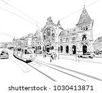 central market. budapest.... | Shutterstock .eps vector #1030413871