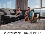 happy family. father  mother... | Shutterstock . vector #1030414117