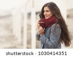 beautiful woman with long hair... | Shutterstock . vector #1030414351