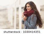 beautiful woman with long hair...   Shutterstock . vector #1030414351