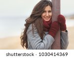 beautiful woman in grey coat...   Shutterstock . vector #1030414369