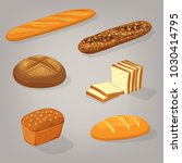 bread food variety. brick... | Shutterstock .eps vector #1030414795