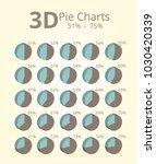3d pie chart 51 75 | Shutterstock .eps vector #1030420339