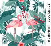 seamless pattern of flamingo ... | Shutterstock .eps vector #1030421701