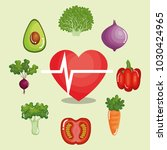 heart cardio with healthy food | Shutterstock .eps vector #1030424965