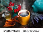 herbal tea from the viburnum... | Shutterstock . vector #1030429069