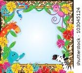 jungle zoo party invitation | Shutterstock . vector #103045124