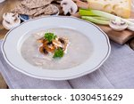 soup with mushrooms and green...