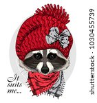 vector raccoon with red knitted ... | Shutterstock .eps vector #1030455739