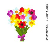 beautiful bouquet of colorful... | Shutterstock .eps vector #1030456081