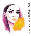 woman face. hand painted... | Shutterstock . vector #1030461841