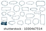 speech bubble doodles set.... | Shutterstock .eps vector #1030467514
