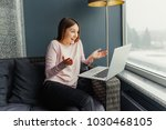 portrait of overjoyed woman... | Shutterstock . vector #1030468105