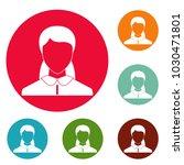 new woman avatar icons circle...