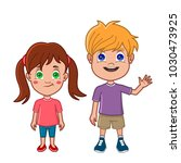 boy and girl standing together | Shutterstock .eps vector #1030473925