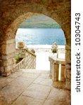 mediterranean islands - arch view - stock photo