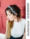 young beautiful bride with a...   Shutterstock . vector #1030480009