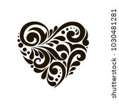 patterned heart. black and... | Shutterstock .eps vector #1030481281