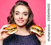 beautiful positivity girl... | Shutterstock . vector #1030498435