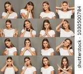 different emotions collage. set ... | Shutterstock . vector #1030500784