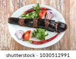 turkish kebab eggplant and... | Shutterstock . vector #1030512991
