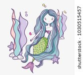 little mermaid art cartoon | Shutterstock .eps vector #1030515457
