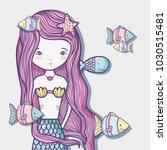 little mermaid art cartoon | Shutterstock .eps vector #1030515481