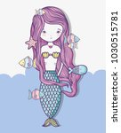 little mermaid art cartoon | Shutterstock .eps vector #1030515781