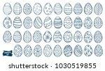 easter eggs doodle set. spring... | Shutterstock .eps vector #1030519855