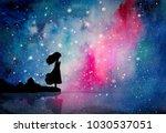 watercolor painting of girl... | Shutterstock . vector #1030537051