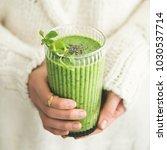 matcha green vegan smoothie... | Shutterstock . vector #1030537714