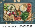vegan snack board. flat lay of... | Shutterstock . vector #1030537957