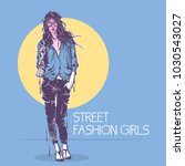 fashion poster in pastel colors.   Shutterstock .eps vector #1030543027