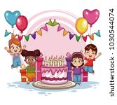 happy kids on birthday party | Shutterstock .eps vector #1030544074