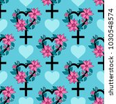 seamless pattern with feminism... | Shutterstock .eps vector #1030548574