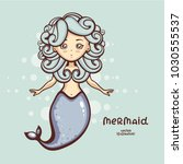cute mermaid vector... | Shutterstock .eps vector #1030555537