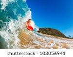 body boarder surfing blue ocean ... | Shutterstock . vector #103056941