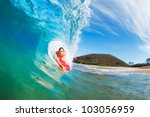 body boarder surfing blue ocean ... | Shutterstock . vector #103056959