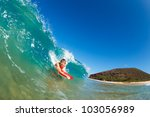 body boarder surfing blue ocean ... | Shutterstock . vector #103056989