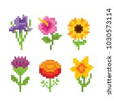 flowers icon set. pixel art.... | Shutterstock .eps vector #1030573114